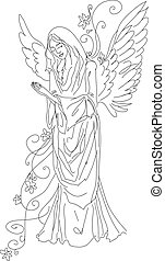 croquis, prier, isolé, ange
