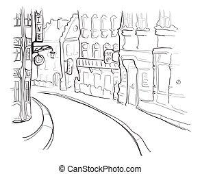 croquis, rue, town., illustration, vecteur, vieux, style.