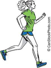 croquis, runner., illustration, vecteur, femme, marathon