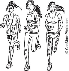 croquis, runners., illustration, vecteur, marathon, femmes