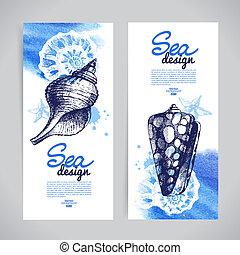 croquis, seashell, main, banners., mer, nautique, dessiné, wat, design.