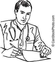 croquis, sien, bureau, séance, docteur médical, illustration, écriture, vecteur, stéthoscope, recipe., bureau