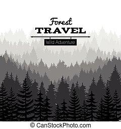 croquis, silhouette, nature, affiche, bois, arbre, pin, vecteur, forêt, fond, montagnes.