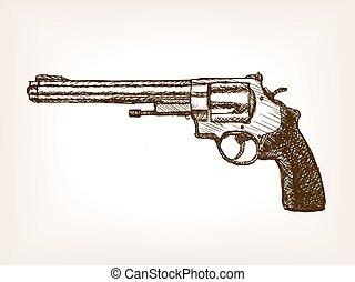 croquis, style, illustration, revolver, vecteur, pistolet