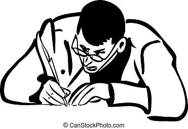 croquis, stylo écriture, homme, penne, lunettes
