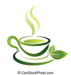 croquis, tasse, thé, vecteur, vert, icône