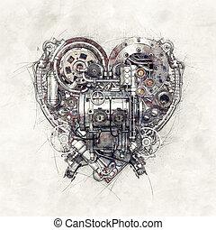 croquis, technical-mechanical, illustration, coeur, 3d