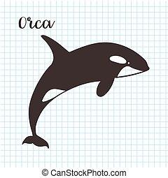 croquis, tueur, illustration, main, vecteur, whale., dessiné