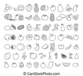croquis, végétarien, fruit, nourriture, griffonnage, nourriture, sain, set., élément, menu, illustration., illustration, vecteur