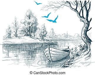 croquis, /, vecteur, delta, bateau rivière