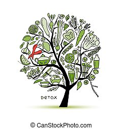 croquis, vegetables., arbre, vert, conception, ton