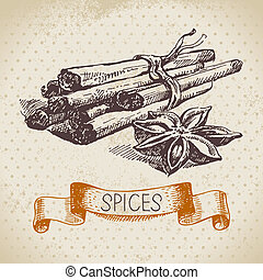 croquis, vendange, main, herbes, cannelle, fond, dessiné, spices., cuisine