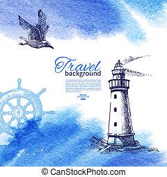 croquis, vendange, voyage, illustration, main, aquarelle, arrière-plan., mer, nautique, dessiné, design.