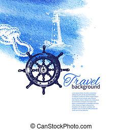 croquis, vendange, voyage, main, aquarelle, arrière-plan., mer, nautique, illustrations, dessiné, design.