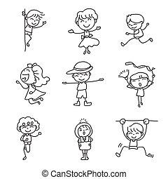 crosse, gens, allumette, caractère, dessin, griffonnage, heureux, ensemble, abrégé main, gosses, dessin animé, style