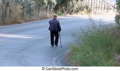crosse, marche, rue., arrière affichage, vieil homme, bas