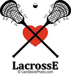 crosse, traversé, lacrosse balle