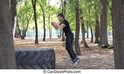 crossfit, parc, sauts, pneu