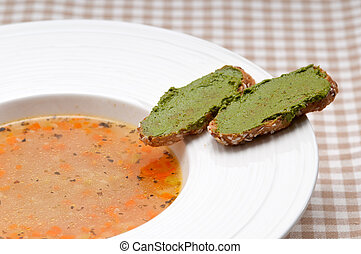 crostini, soupe, minestrone, pesto, côté, italien