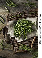 cru, organique, vert, haricots verts