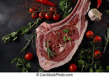 cru, os, côte, frais, bifteck, boeuf