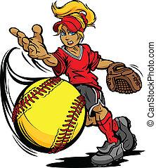 cruche, balle, tournoi, softball, jeûne, art, illustration, fastpitch, pas, vecteur, dessin animé, jeté