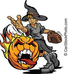 cruche, tournoi, softball, halloween, jeûne, porter, art, crier, pas, déguisement, figure, citrouille, sorcière, jeté, flamboyant