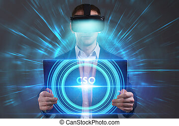 cso, voit, réseau, fonctionnement, inscription:, concept., jeune, virtuel, business, internet, homme affaires, technologie, réalité, lunettes
