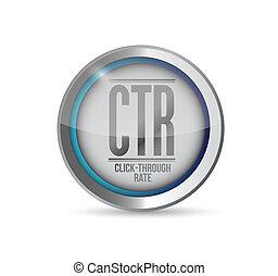 ctr, bouton, illustration, taux, par, déclic, 3d