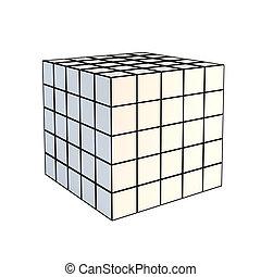 cube blanc, facetté, 3d