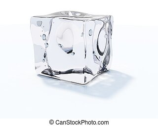 cube blanc, isolé, glace