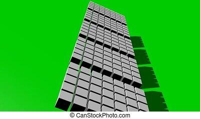 cube, bourdonner, segments, en mouvement, tourner, résumé, écran, cinq, intro, vert, outro, vidéo, blanc, ou
