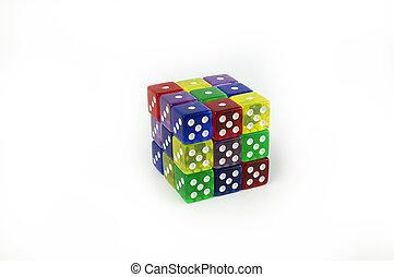 cube, dés, coloré, pris parti, six, jeu