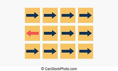 cube, dehors, différent, direction, individu, opposé, concept, penser, rouges, foule, unique, revêtement, flèche, bloc, debout
