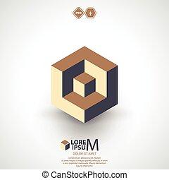 cube, logique, logo, icône