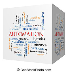 cube, mot, automation, concept, nuage, 3d