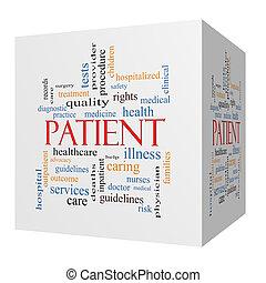 cube, patient, concept, mot, nuage, 3d