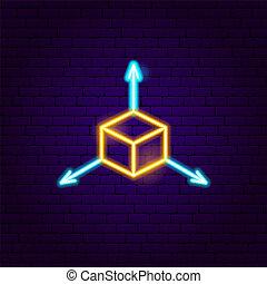 cube, signe néon