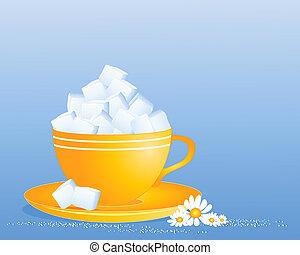 cube sucre, tasse