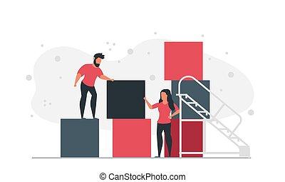 cube, vecteur, blocs, ensemble., concept, plans, femme, gens, illustration, homme, faire, compagnie, business, graphique, bâtiment