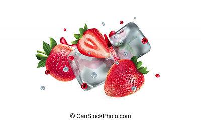 cubes, alpha, glace, channel., fraises