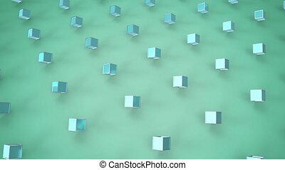 cubes, arrière-plan vert, en mouvement, 3d