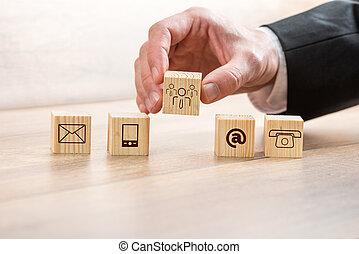 cubes, bois, symboles, contact, arrangement, homme