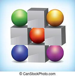 cubes, coloré, gris, illustration, sphères, 3d