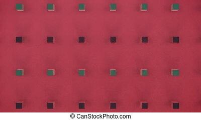 cubes, fond, en mouvement, 3d, rouges