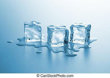 cubes, fondre, glace