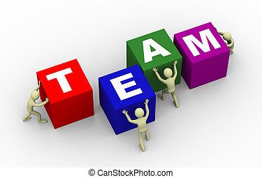 cubes, gens, 3d, pousser, équipe