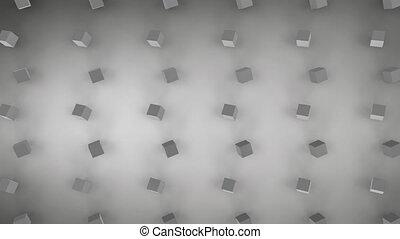 cubes, gris, fond, en mouvement, 3d