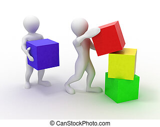 cubes., hommes, collaboration
