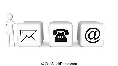 cubes, illustration, contact, fond, blanc, 3d, us:, homme